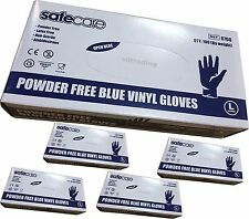 500 x Large Blue Vinyl Safe Care Disposable Gloves Latex and Powder Free