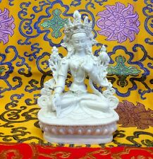 Medium White Tara Tibetan Buddhist Statue Handmade from Nepal Resin 6 Inch