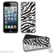 APPLE iPHONE 5 HARD ZEBRA FUSION HYBRID CASE SKIN COVER ACCESSORY SILVER/BLACK
