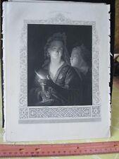 Vintage Print,CANDLELIGHT,Paynes Book of Art,c1850
