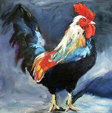 Norma Wilson Original Oil Rooster Art Bird Portrait Farm Animals Painting
