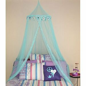 Girls Blue Floral Hoop Canopy Sheer Mosquito Netting Twin Full Size Princess Bed