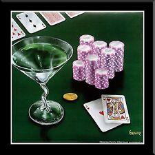 Poker Chips, Big Slick, Michael Godard, Framed 15x15