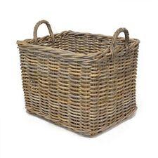 Rectangular Wicker Weave Log Storage Basket With Handles