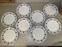 """Homer Laughlin (8) 9"""" Red, White & Blue Women & Floral Dinner Plates"""