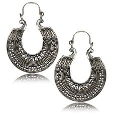 Earrings Hanger Ornate Antiqued Plugs Hoops Pair Large Afghan Tribal White Brass