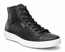 ECCO MENS BLACK LEATHER SOFT 7 HIGH TOP SNEAKER
