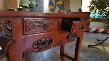 Consolle cinese in legno laccato rosso,due cassetti