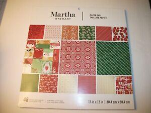 New Martha Stewart Christmas Scrapbook & Crafting Paper Pad 12 x 12 - 48 sheets