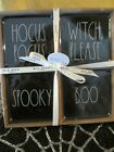 Rae Dunn Ceramic Halloween Hocus Pocus Witch Please BOO Spooky Black Coasters