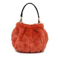 Womens Faux Fur Tote Shoulder Bag Handbag Clutch Pumpkin Purse Soft Furry Fluffy