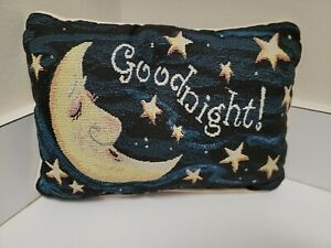 """Tapestry Pillow""""Goodnight"""" """"Don't Let The Bed Bugs Bite."""" Moon & Stars 2 sided"""