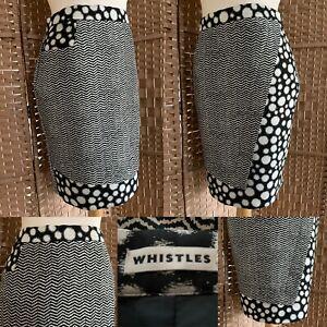 "WHISTLES Black White JUNYA Wool Silk Blend PENCIL Skirt Sz 10 L22"" GEOMETRIC"