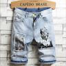 Men Straight Short Jeans Casual Pants Ripped Skinny Denim Shorts Trousers Bottom