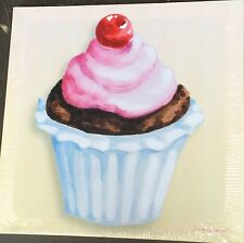 "Beige Cherry Cupcake Canvas  15"" x 15"" on a wooden Stretcher frame, Very Unusual"