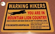 WARNING MOUNTIAN LIONS, Sign, traps, trapping, hunting, lions, hiking, warning