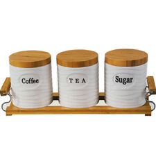 SET OF 3 CANISTERS COFFEE TEA SUGAR BAMBOO STAND KITCHEN STORAGE JAR CONTAINER