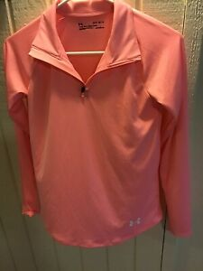 Under Armour Heatgear Youth Size L 1/4 Zip Long Sleeved Activewear Coral Top