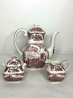 WEDGWOOD Enoch England Pink Tea Pot, Sugar Bowl, Creamer- Royal Homes Of Britain