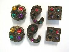 Set of 6 Brass Tone Metal Button Covers Multi-Color Gem~Paisley Square Free Ship