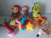 Baby Plush Soft Toy Bundle- Teether Rattles Crinkle Squeaky Sensory Play Toddler
