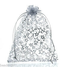 20PCs BD White Rectangle Organza Bag Moon&Star Storage Jewelry Gift Bag 16x13cm