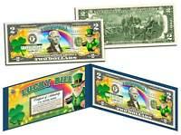 LEPRECHAUN * Four Leaf Clover * Colorized U.S. $2 LUCKY BILL - St Patrick's Day