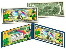 LEPRECHAUN * Four Leaf Clover * Colorized U.S. $2 LUCKY BILL - St Patrick's Day
