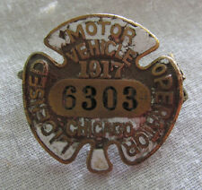 1917 CHICAGO Motor Vehicle Automobile License Operator Badge Rare Old Pin