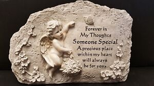 Large Graveside Cherub with flowerbasket Sculpture Ornaments NEW Stone effect