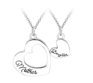 Mum necklace MOTHER AND DAUGHTER NECKLACE x2 stainless steel pend Christmas 258