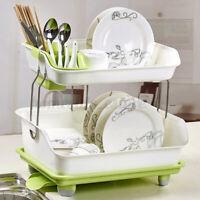 Double Layer Dish Drying Storage Kitchen Drain Rack Shelf Tableware Holder