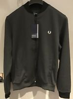 "Fred Perry : Tipped Bomber Neck Track Jacket (M 42"") Charcoal Sol Mar(SALE)"