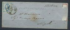 FRANCOBOLLI 1863 REGNO15 CENTESIMI SU LETTERA DA ROCCARASA A NAPOLI 21/7 D/1588