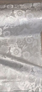 """1 METER SILVER/WHITE SHINY METALLIC FLORAL BROCADE FABRIC 44"""" WIDE"""
