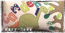 Personalised Boys Cushion Handmade New Baby Birthday Name Dinosaur