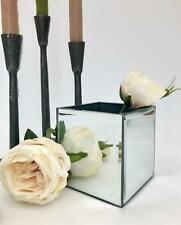 Small Silver Mirrored Square Glass Flower Vase Christmas Wedding Table Decor