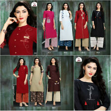 Women INDIAN Pakistani Embroidery Cotton Kurti Urban Ethnic Top & bottom Long