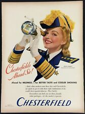 1941 Louise Stanley Smoking Chesterfield Cigarettes Pirate Telescope Print Ad
