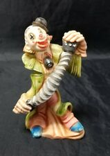 "Vintage Clown Figurine Playing Accordion 5"" Green Jacket Made in Italy"