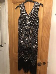 Black Silver Flapper Gatsby Dress