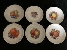 "VINTAGE DEPIAG SET OF 6 SAUCERS FOR DISPLAY WITH FRUIT PATTERN 5.75"" DIAMETER"