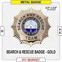 Gold Search & Rescue Badge SAR EMT Paramedic FF VFF SR Badge K9 Mountain -  G 48