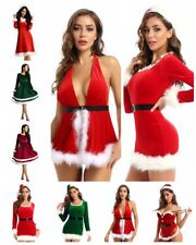 Sexy Women Christmas Mini Dress Bodysuit Bodycon Apron Hat Belt Party Club Dress