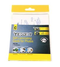 """TEXET PK OF 5 SELF LAMINATING CARDS FOR 6"""" x 4"""" PHOTOS NO MACHINE REQUIRED"""