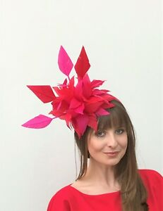 Red & Hot Pink Feather Fascinator