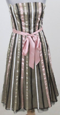 Prom Dress 8 Gold Pink Rockabilly Striped 60s Retro Strapless Fitted Flare Party