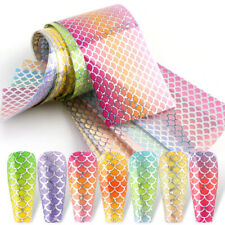 10Pcs New DIY Fish Scale Skin Gradients Color Nail Foil Transfer Decal Stickers