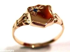 KAEDESIGNS, NEW GENUINE 9CT SMALL ROSE GOLD BLUE SAPPHIRE SHIELD SIGNET RING