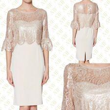 New Gina Bacconi Gina Bacconi Mina Antique Rose Crepe Lace Dress RRP £320 Size 8